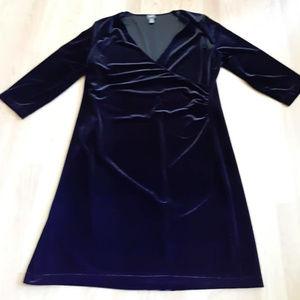 TRAVELERS CHICO'S Black Velvet Cocktail Wrap Dress